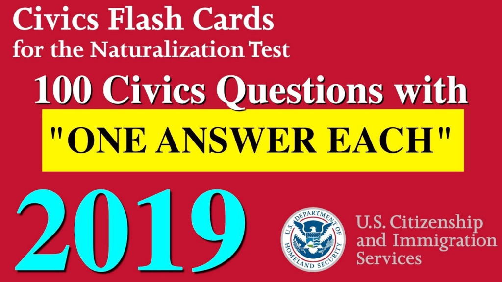"""100 Civics Questions With """"One Answer Each"""" For U.s. Citizenship 