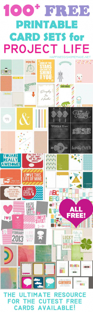 100+ Free Printable Project Life Journaling Card Insert Sets   Free Printable Christmas Cards With Photo Insert