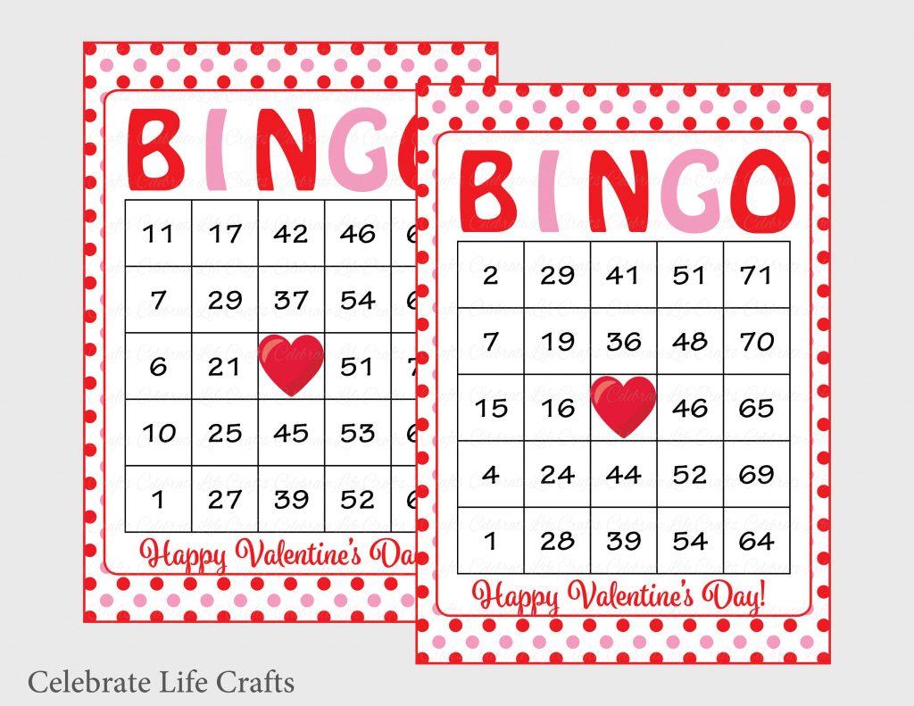 100 Valentines Bingo Cards Printable Valentine Bingo Cards   Etsy   Printable Valentine Bingo Cards With Numbers