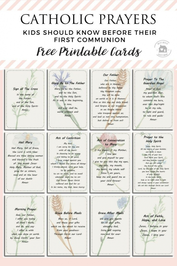 12 Prayers Kids Should Know Before Their First Communion | Religious | Free Printable Catholic Prayer Cards