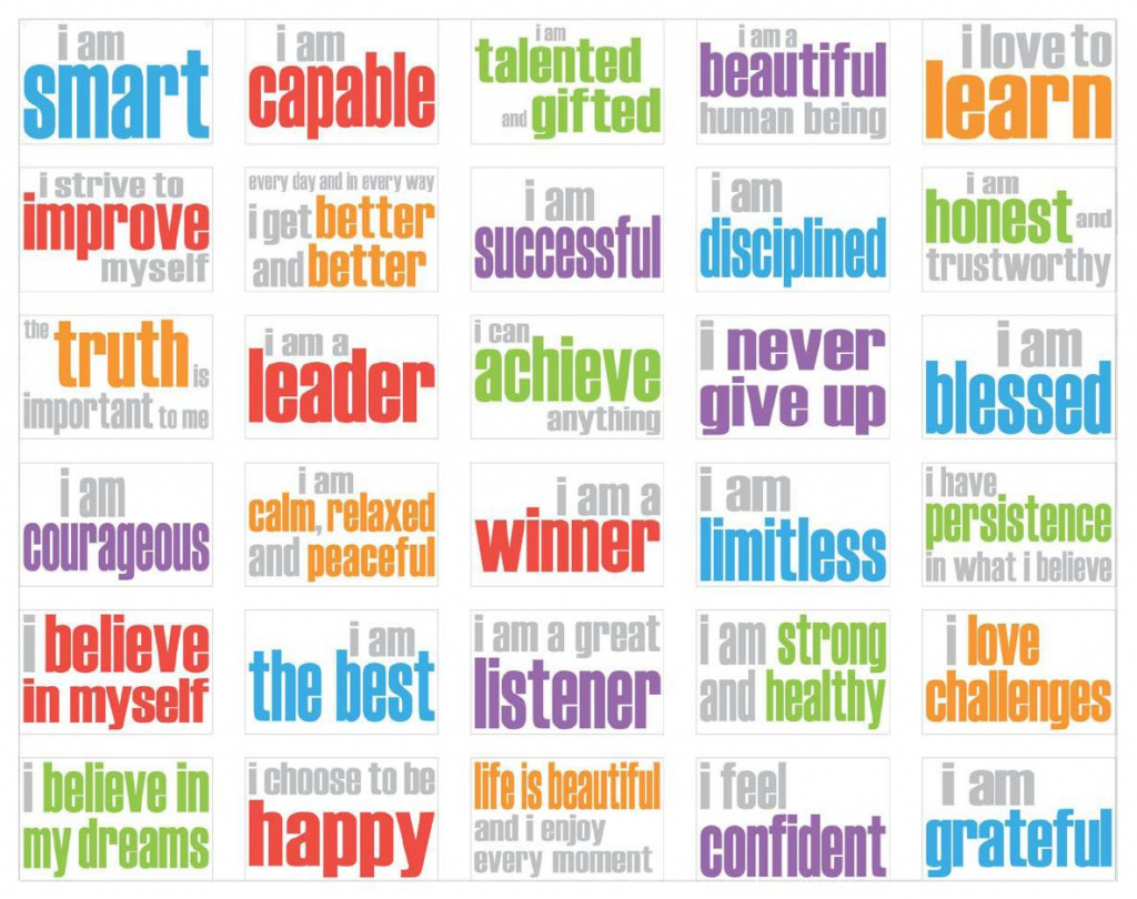 13 Best Photos Of Free Printable Affirmations - Positive Affirmation   Free Printable Positive Affirmation Cards