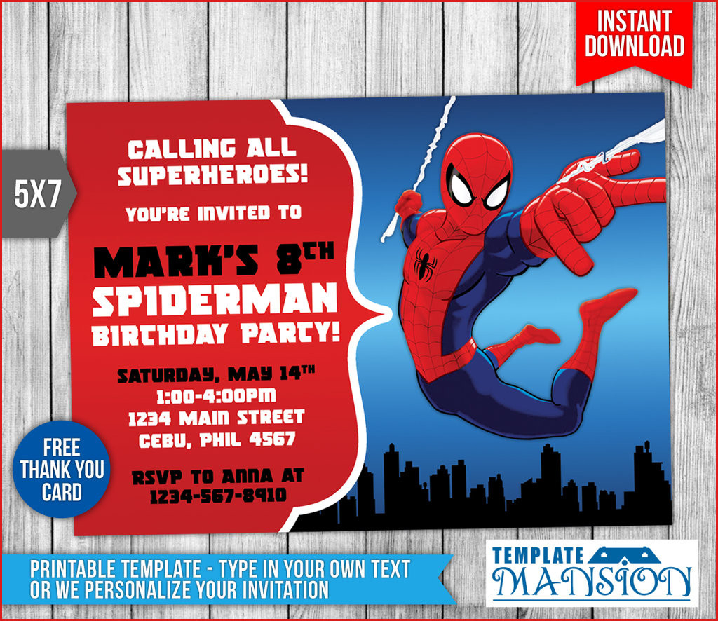 13 Cool Spiderman Birthday Cards Printable : Lenq | Spiderman Thank You Cards Printable