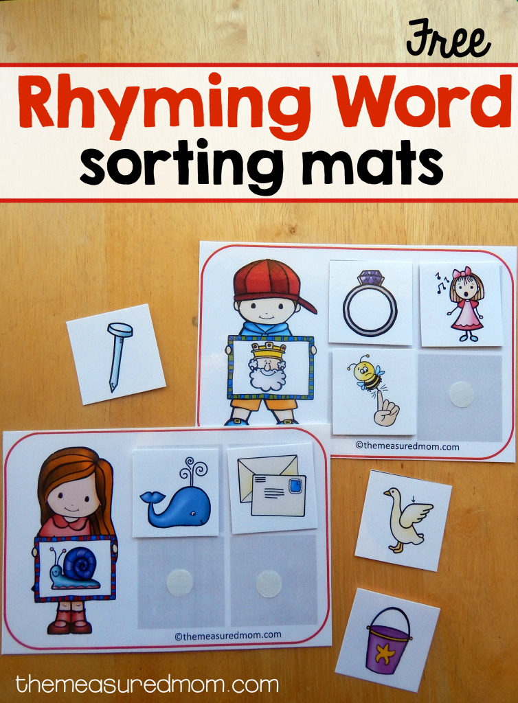 14 Free Sorting Mats For Rhyming Words - The Measured Mom   Rhyming Picture Cards Printable