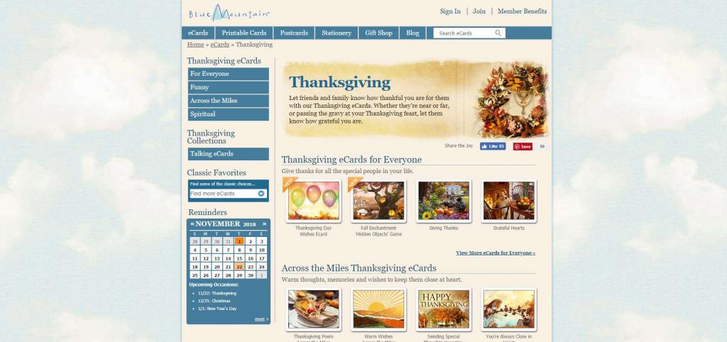 15 Favorite Sites For Sending Jib Jib Thanksgiving Ecards | Blue Mountain Printable Cards