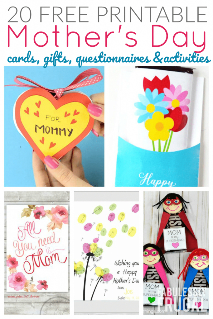 20 Free Printable Mother's Day Cards To Make At Home - Fabulessly Frugal | Deal A Meal Cards Printable