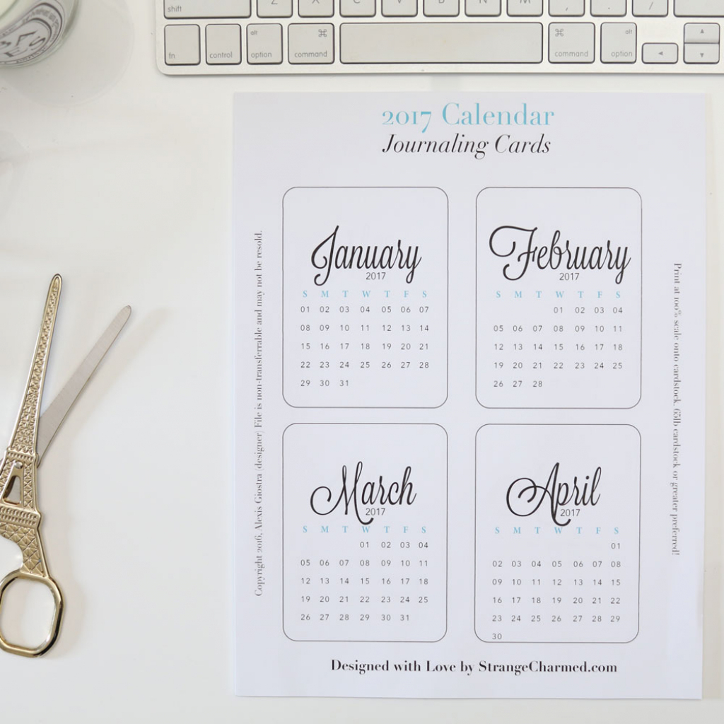 2018 Monthly Journaling Cards {Printable} - Strange & Charmed   Printable Surgeon Preference Card
