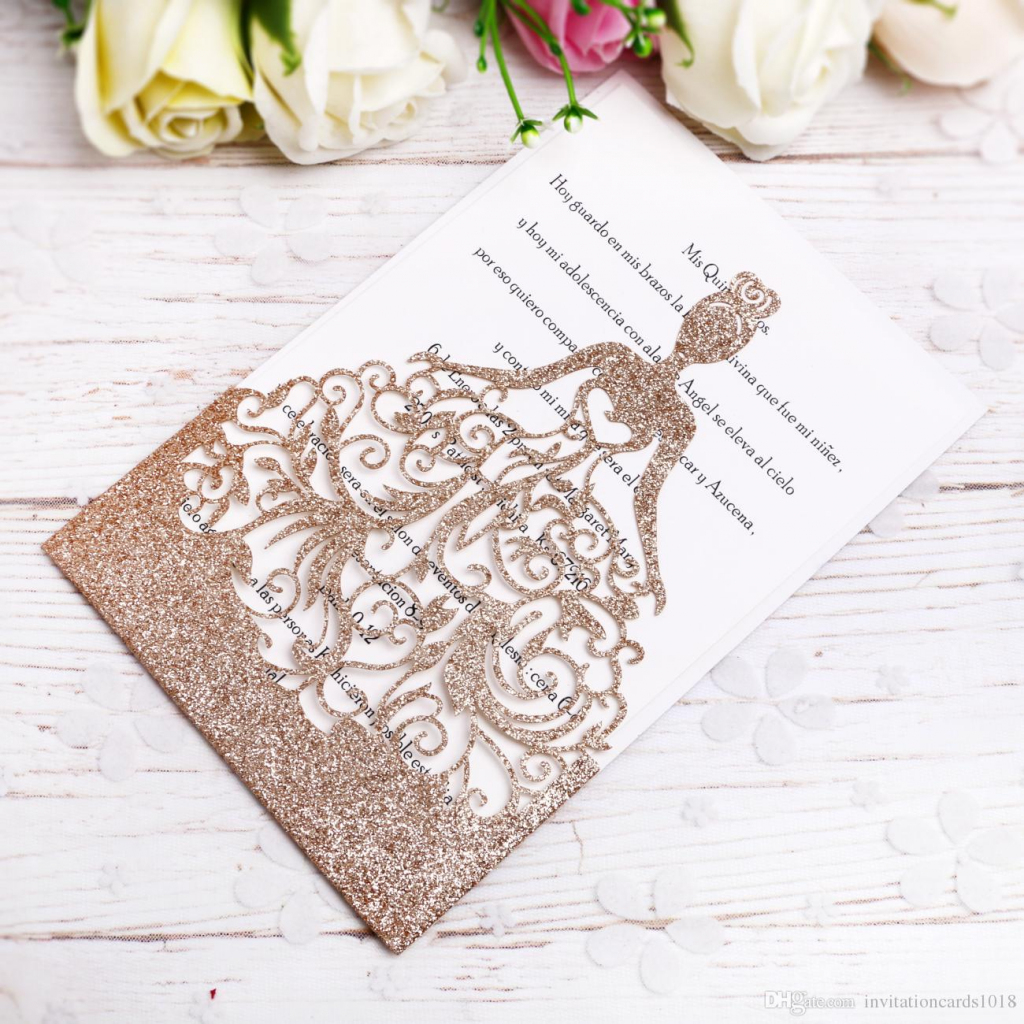 2018 New Gold Glitter Laser Cut Crown Princess Invitations Cards For   Printable Quinceanera Birthday Cards