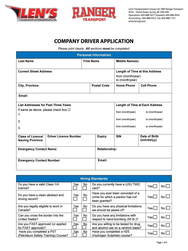 3 Driver Application - Blenstgbbcomb Fill Online, Printable   Printable Twic Card Application
