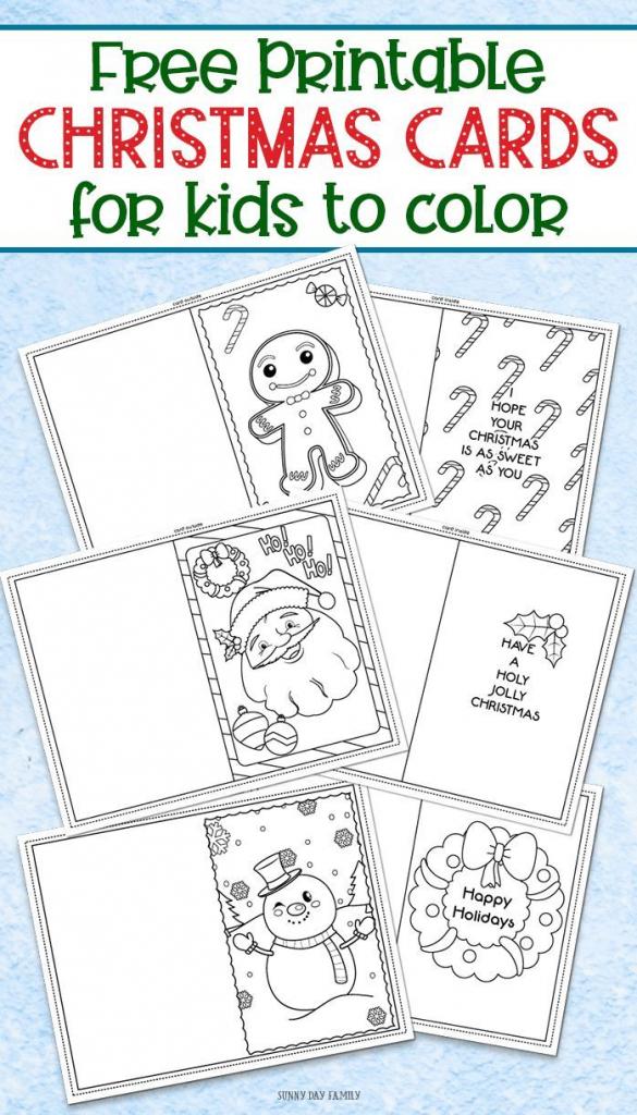 3 Free Printable Christmas Cards For Kids To Color | Kinder-Garten | Christmas Cards For Grandparents Free Printable