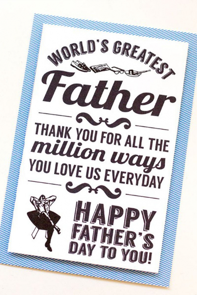 30 Free Printable Father's Day Cards - Cute Online Father's Day   Free Printable Fathers Day Cards For Preschoolers