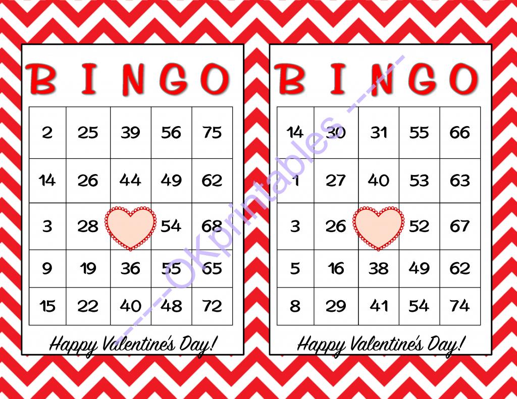 30 Happy Valentines Day Bingo Cards -Okprintables On Zibbet   Printable Valentine Bingo Cards With Numbers