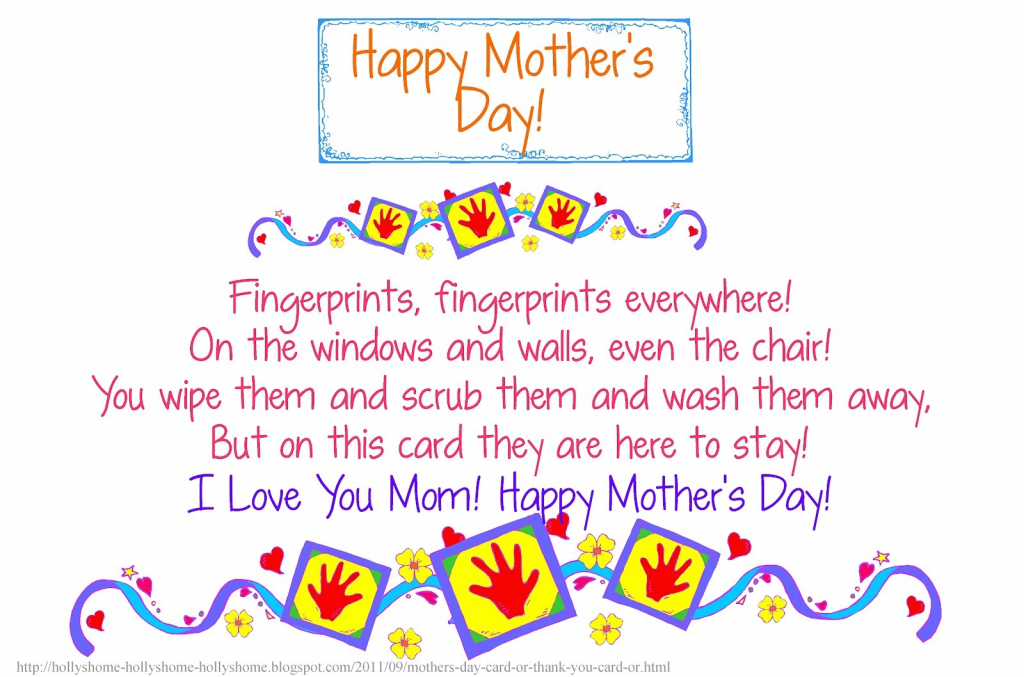30 Touching Mothers Day Poems From Kids   Mothers Day Poems Cards Printable