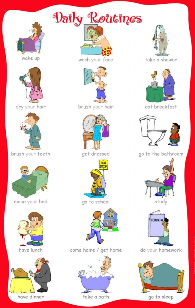 33 Free Printable Visual Schedules For Home/daily Routines   Picture Cards For Autism Printable