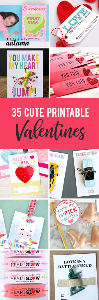 35 Adorable Diy Valentine's Cards To Print At Home For Your Kids | Homemade Valentine Cards Printable