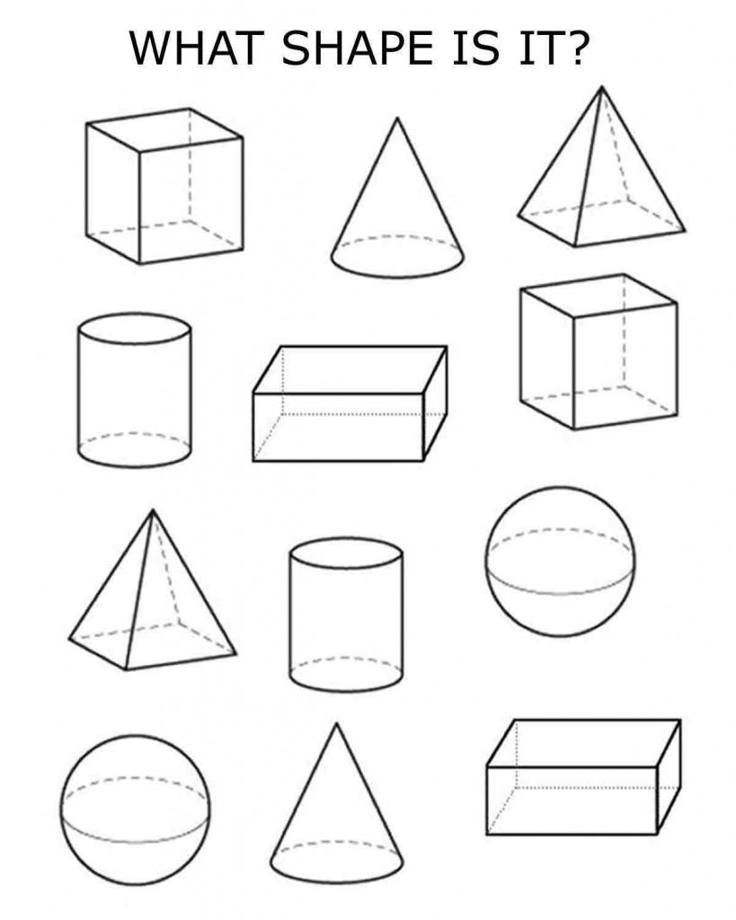 3D Shapes   Homeschooling   Shapes Worksheets, 3D Shapes Worksheets   Shape Flash Cards Printable Black And White