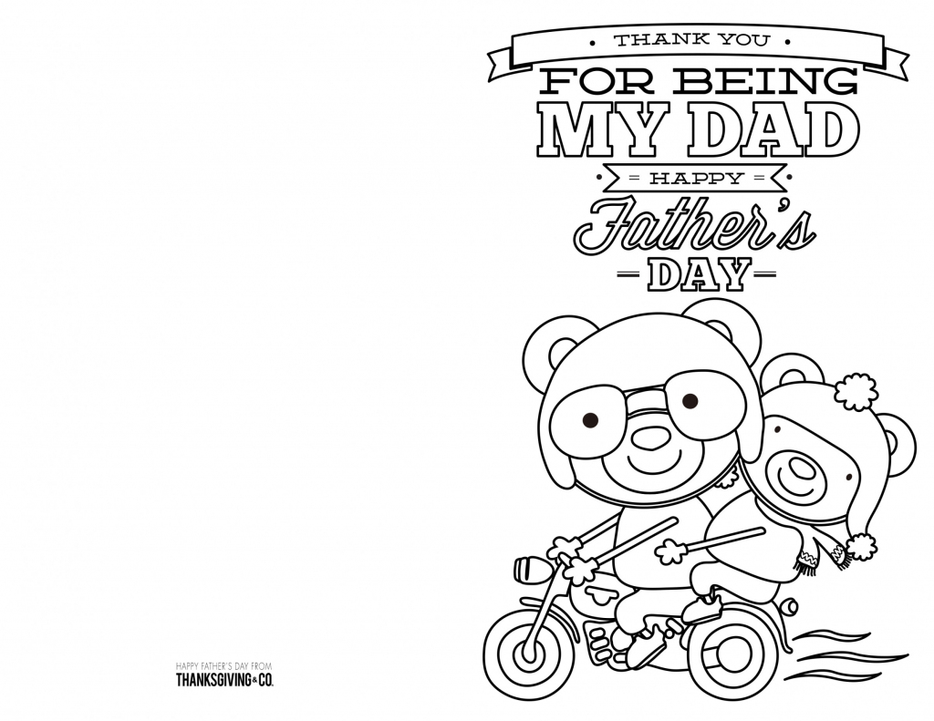 4 Free Printable Father's Day Cards To Color - Thanksgiving   Free Printable Fathers Day Cards For Preschoolers