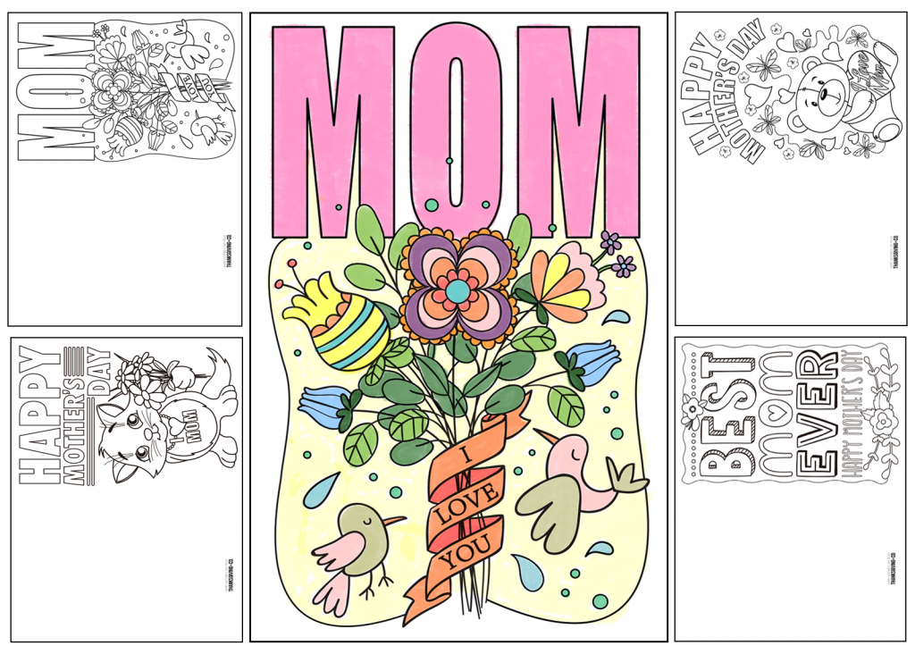 4 Free Printable Mother's Day Ecards To Color - Thanksgiving   Free Printable Cards To Color