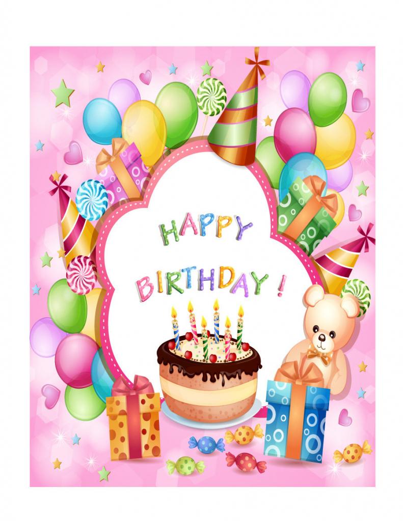 40+ Free Birthday Card Templates ᐅ Template Lab | Printable 1 Year Old Birthday Card