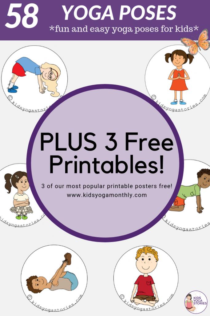 58 Fun And Easy Yoga Poses For Kids (Printable Posters)   Classroom   Printable Yoga Cards For Kids