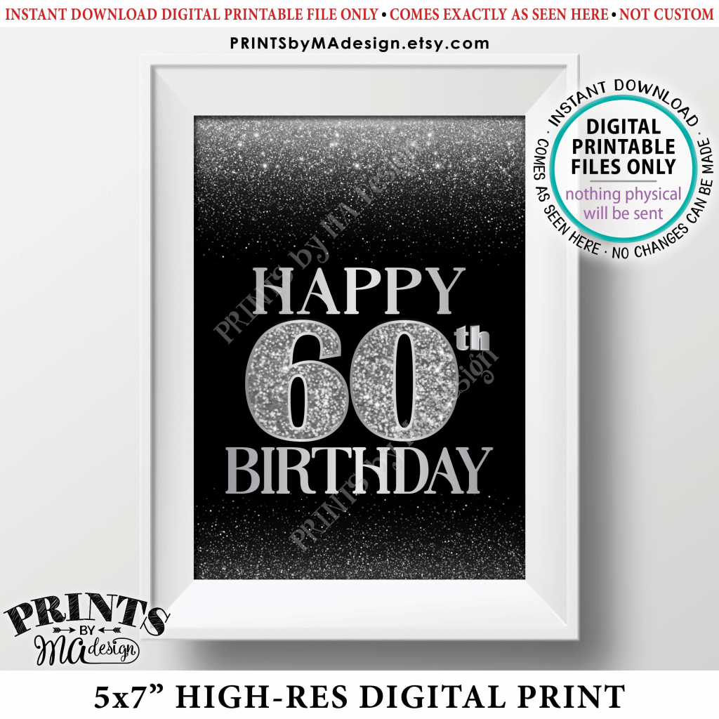 60Th Birthday Card Black & Silver Glitter 60Th B-Day Bokeh, Turning | Printable 60Th Birthday Cards