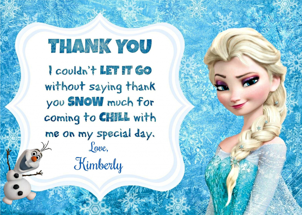 8 Best Images Of Frozen Invitations Printable Birthday Card - Frozen | Disney Frozen Thank You Cards Printable