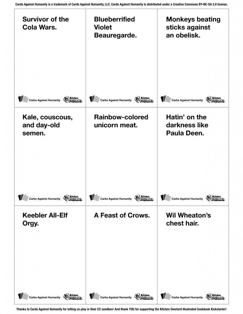 9 Geekiest Cards Against Humanity Decks - Kitchen Overlord | Cards Against Humanity Printable