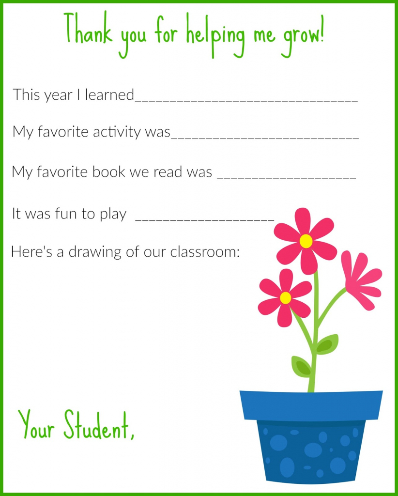 A Thank You Letter For Teachers {Free Printable} - The Chirping Moms | Thank You Card To Teacher Printable