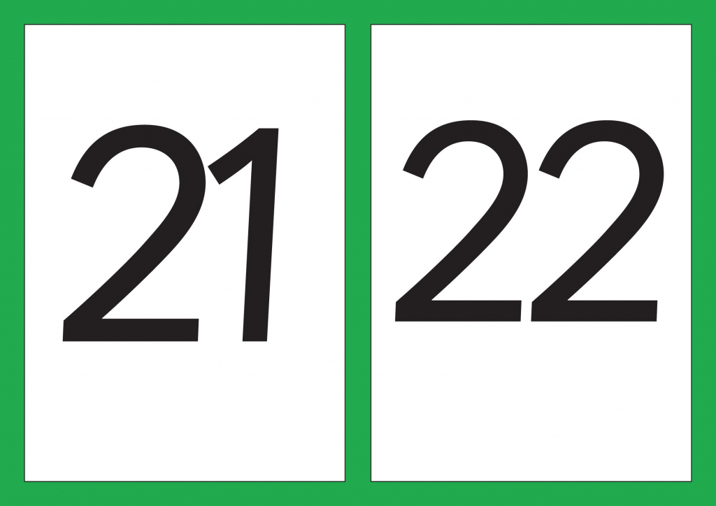A5 Flash Cards Of Digits 21-30   Math   Cards, Numbers, Kindergarten   Printable Abacus Flash Cards