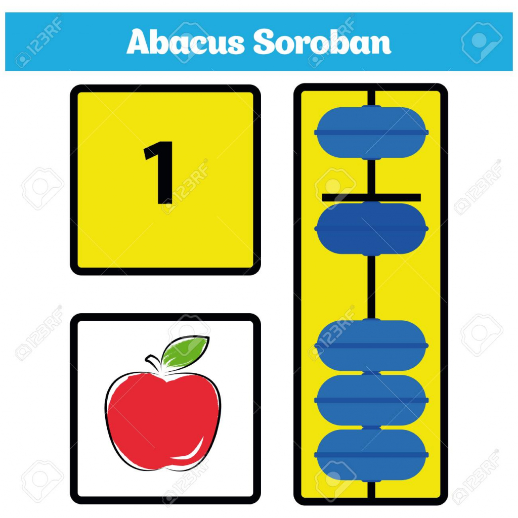 Abacus Soroban Kids With Abacus Vector Illustration. Royalty Free   Printable Abacus Flash Cards