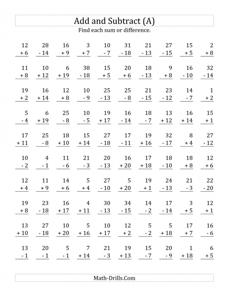 Adding And Subtracting With Facts From 1 To 20 (A) | Flash Cards Addition And Subtraction 1 20 Printable