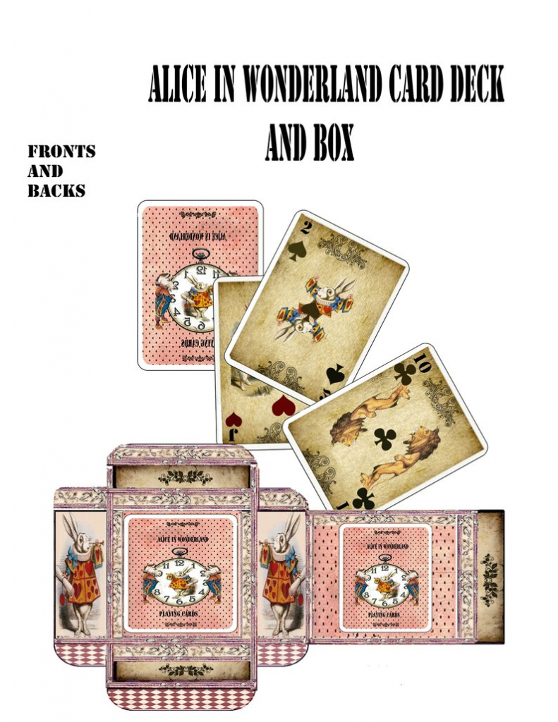 Alice In Wonderland Printable Cards 52 Playing Cards With   Etsy   Alice In Wonderland Printable Playing Cards