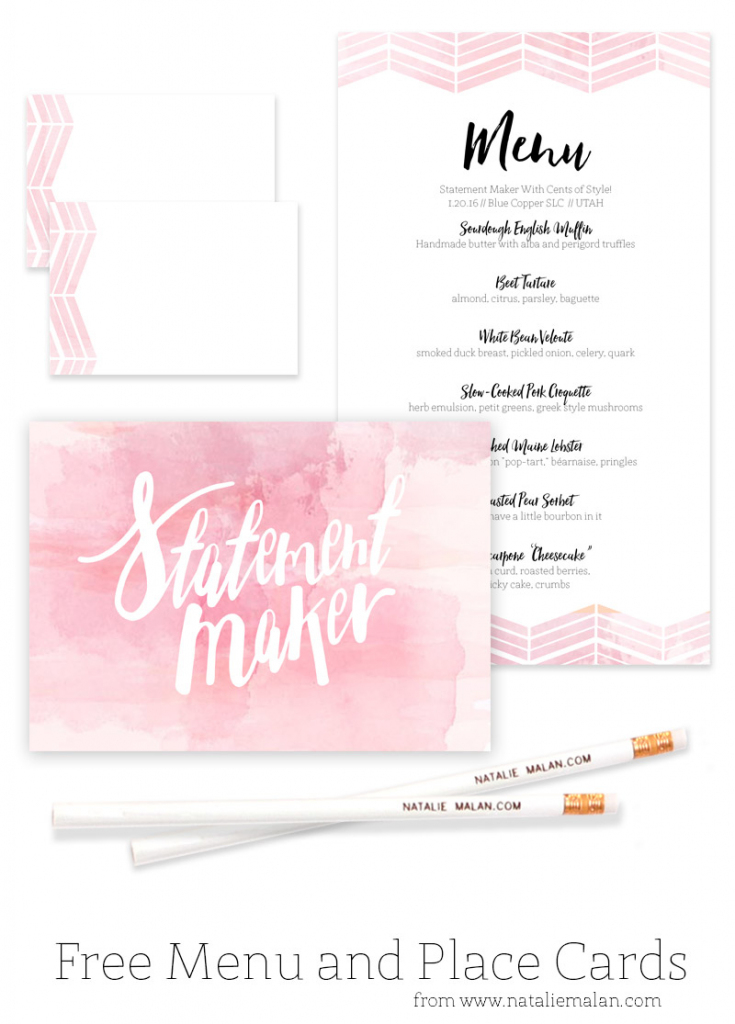 Alt Dinner Free Watercolor Menu And Place Cards - Natalie Malan | Free Printable Place Cards