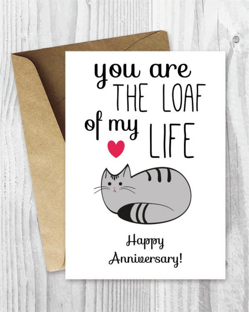 Anniversary Cards Printable Anniversary Card Cat Loaf Funny | Etsy | Funny Printable Anniversary Cards
