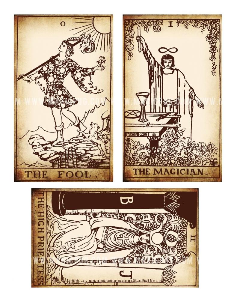 Antique Printable Tarot Pdf Digital Collage Sheet Altered Art | Printable Tarot Card Deck