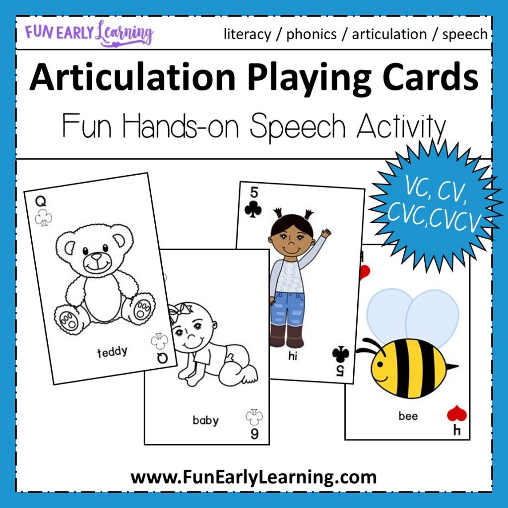 Articulation Playing Cards For Apraxia - Vc, Cv, Cvc, Cvcv Words   Cvc Picture Cards Printable
