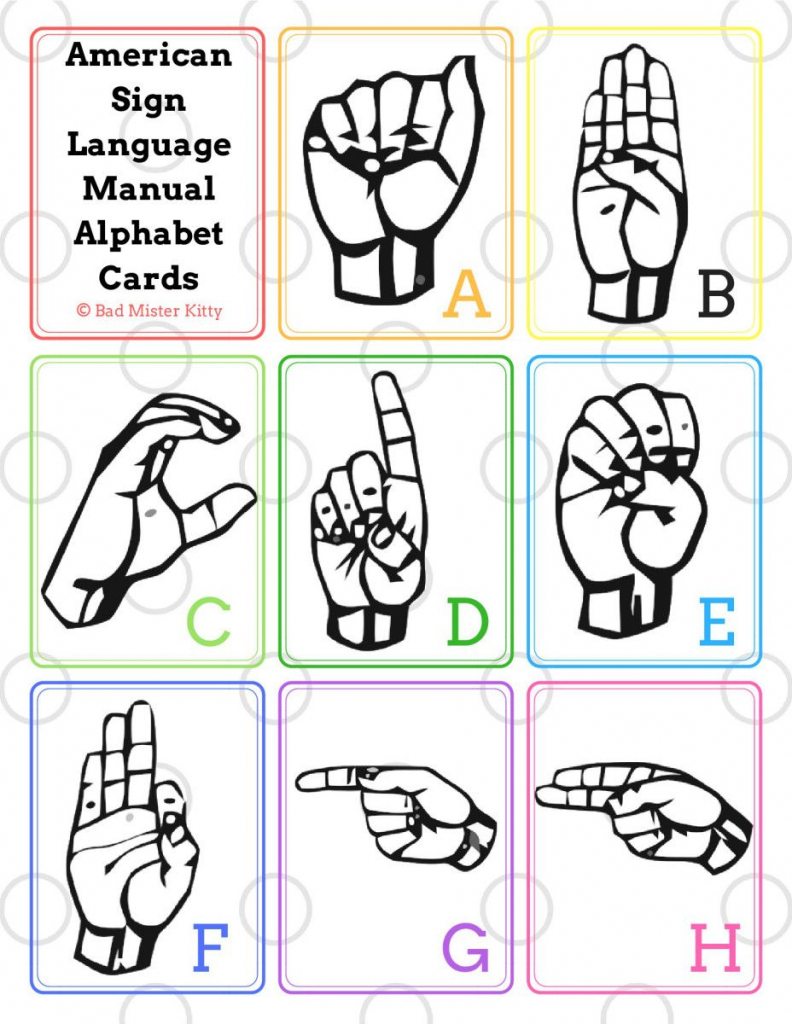 Asl Manual Alphabet Printable Flashcards | Bad Mister Kitty | Sign Language Alphabet Printable Flash Cards