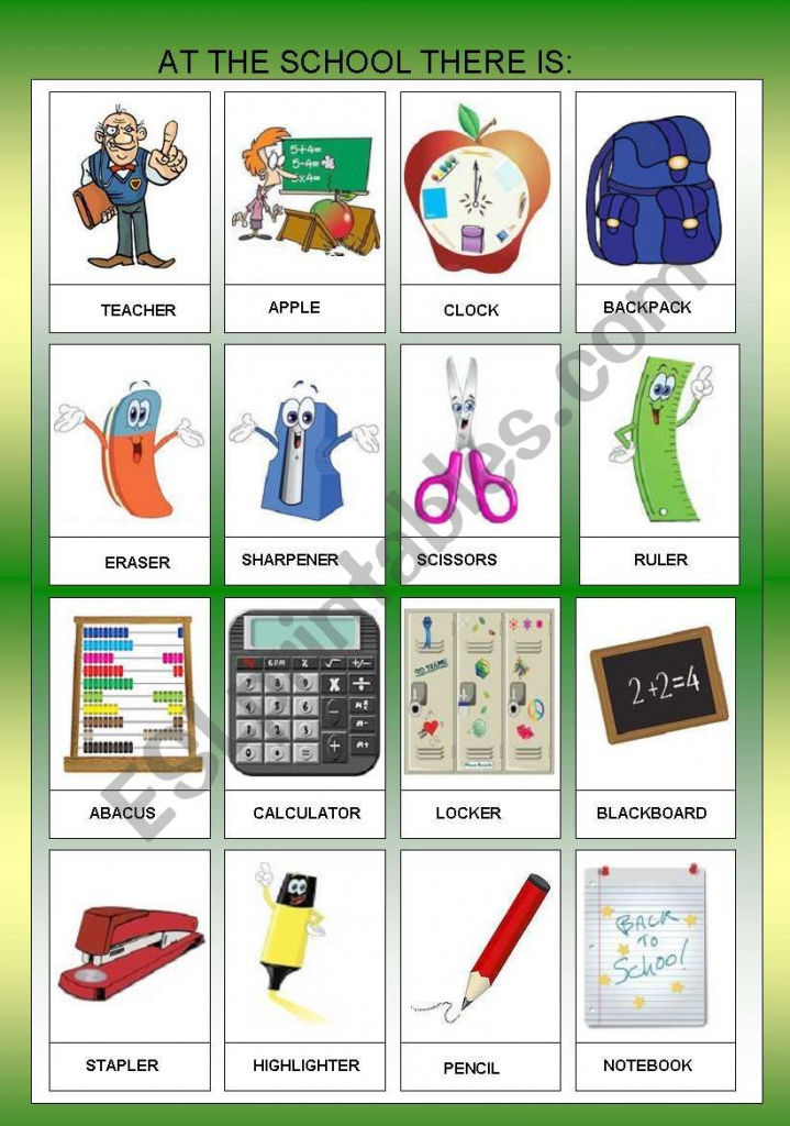 At The Scholl Objects - Flashcards I - For Beginners + B&w - Esl   Printable Abacus Flash Cards
