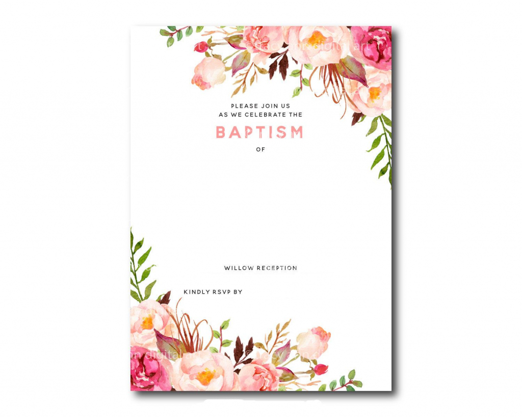 Awesome Free Template Free Printable Baptism Floral Invitation | Free Printable Baptism Greeting Cards