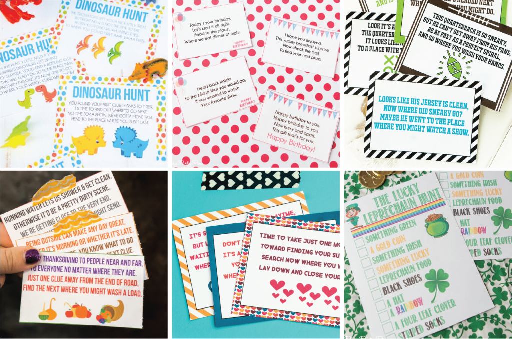 Awesome Scavenger Hunt Ideas For All Ages - Play Party Plan | Treasure Hunt Printable Clue Cards