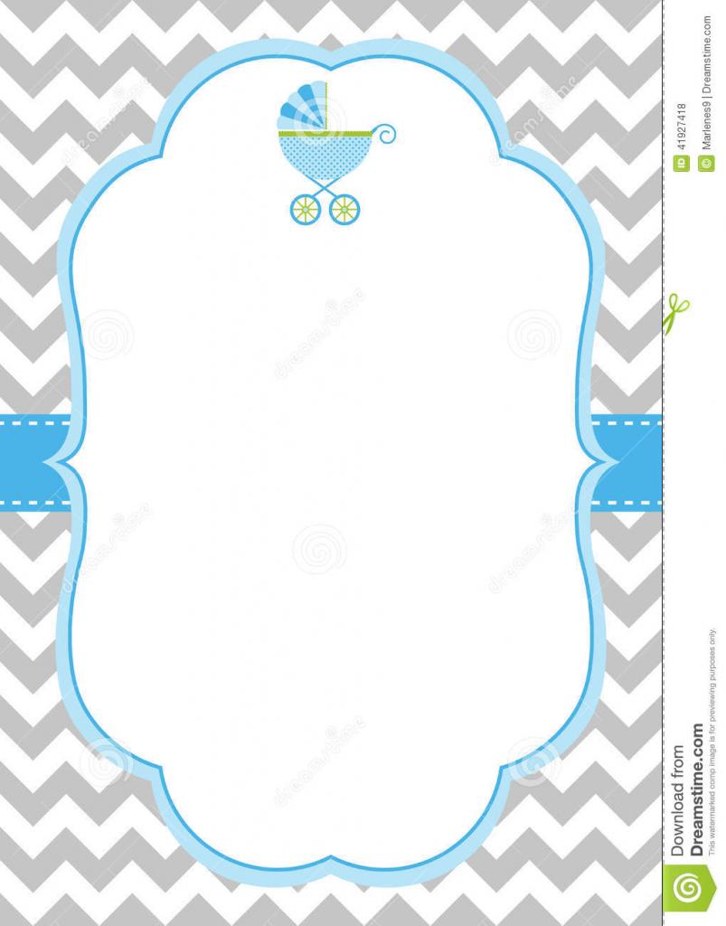 Baby Boy Invitation Card Stock Vector. Illustration Of Chevron | Free Printable Baby Boy Cards