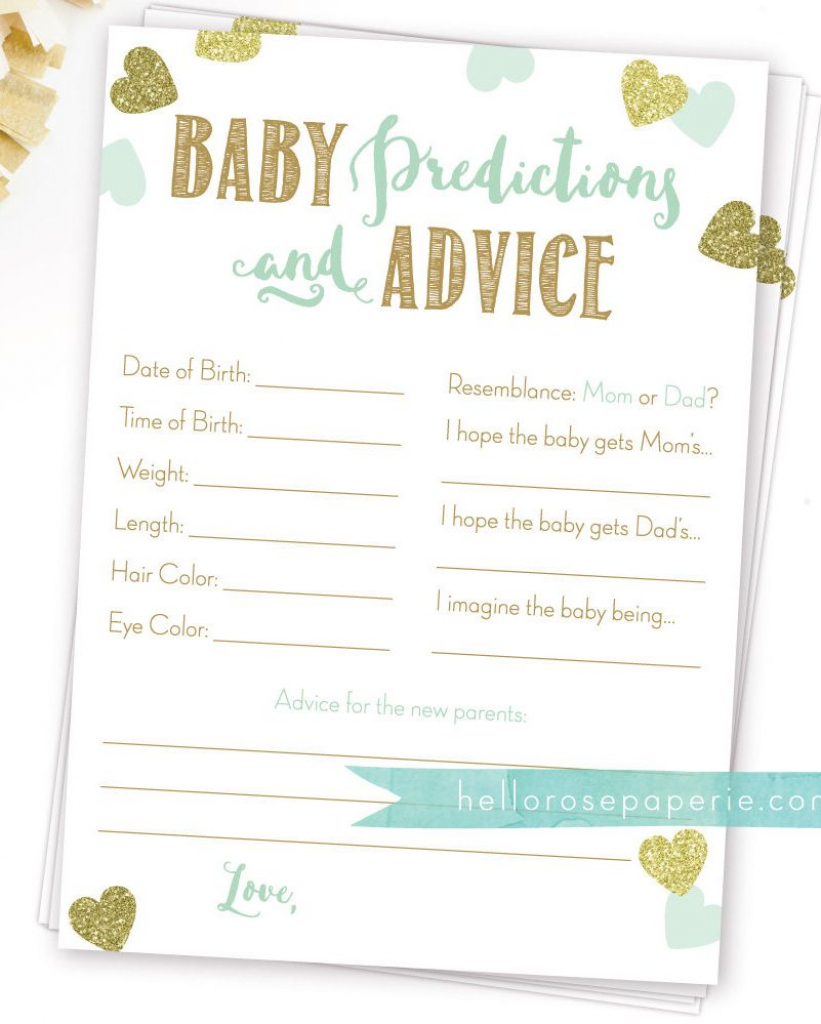 Baby Predictions And Advice . Baby Prediction Cards . Mint And Gold   Baby Shower Printable Prediction Cards