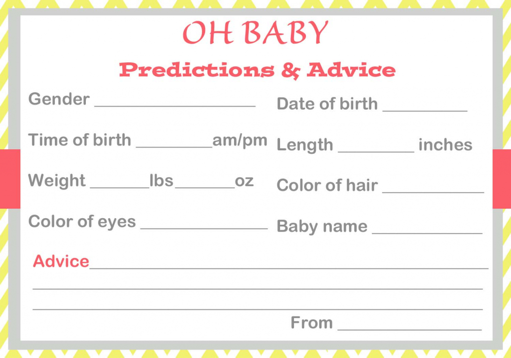 Baby Shower Baby Prediction Cards   Baby Shower Printable Prediction Cards