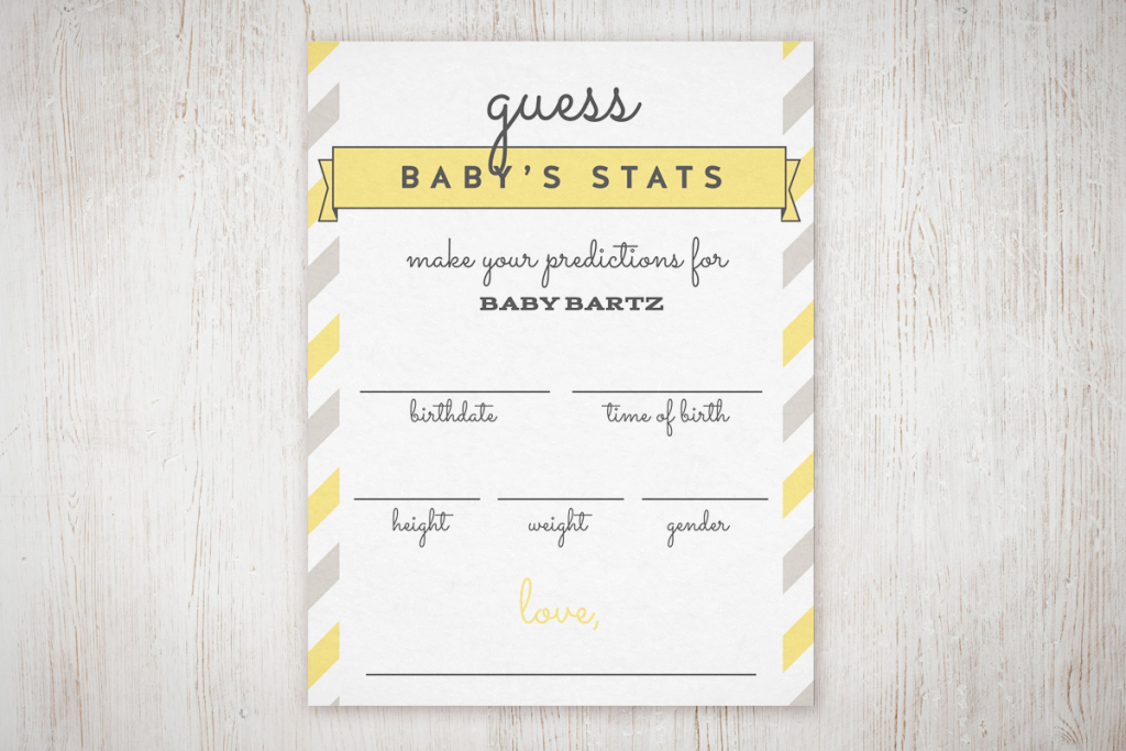 """Baby Shower """"guess The Stats"""" Free Printable   The Little Umbrella   Baby Shower Printable Prediction Cards"""