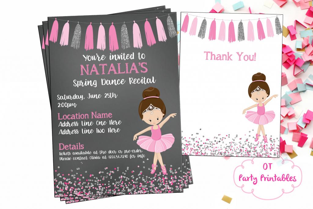 Ballet Recital Invitation Ballerina Dance Invitation Dance   Etsy   Free Printable Dance Recital Cards