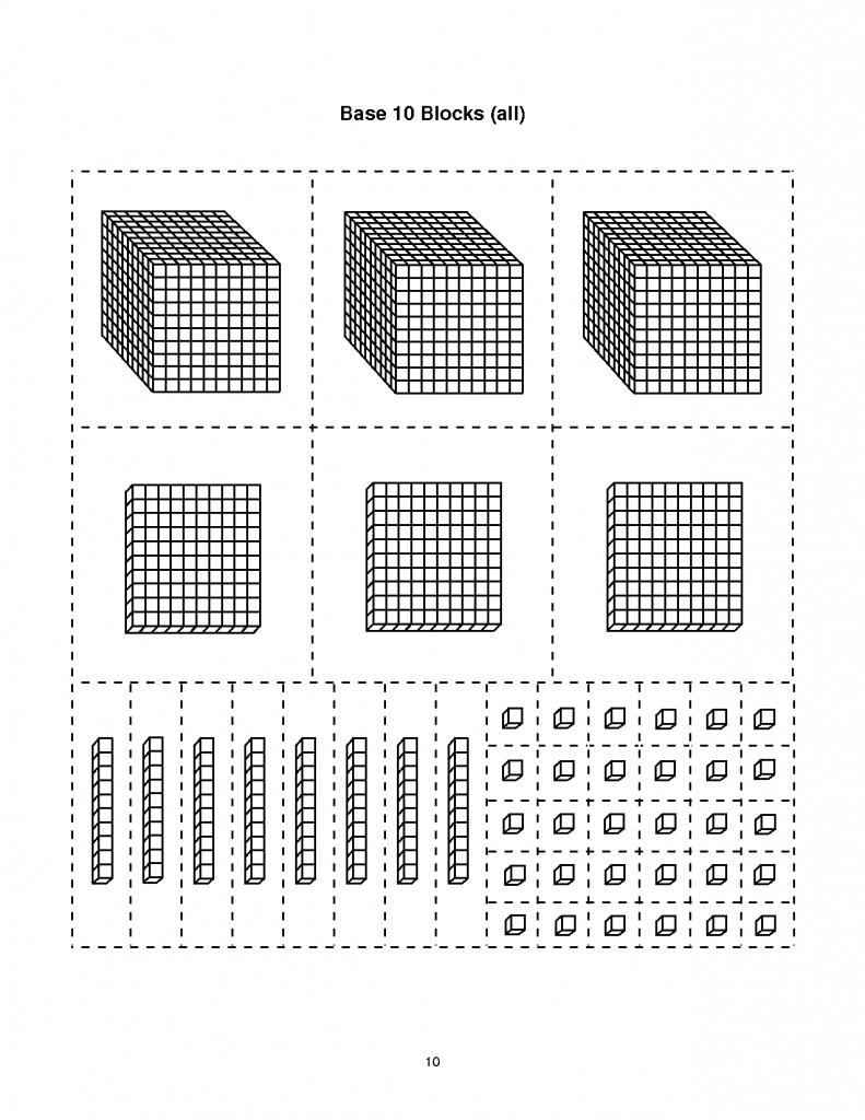 Base Ten Block Templates   Base-10 Blocks-Thousands   Math   Base   Base Ten Picture Cards Printable