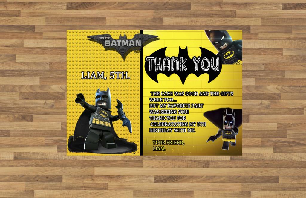 Batman Superhero Birthday Party Thank You Card Printable | Etsy | Batman Thank You Cards Printable