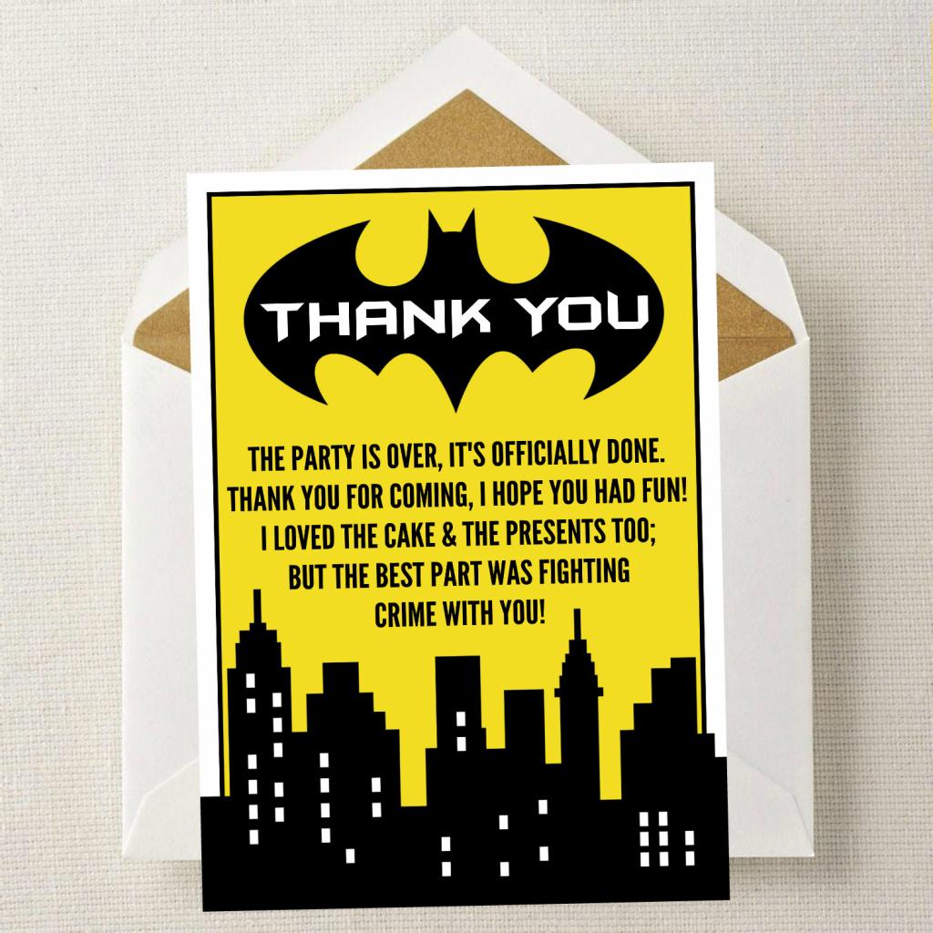 Batman Thank You Card // Batman Birthday Thank You // | Etsy | Batman Thank You Cards Printable