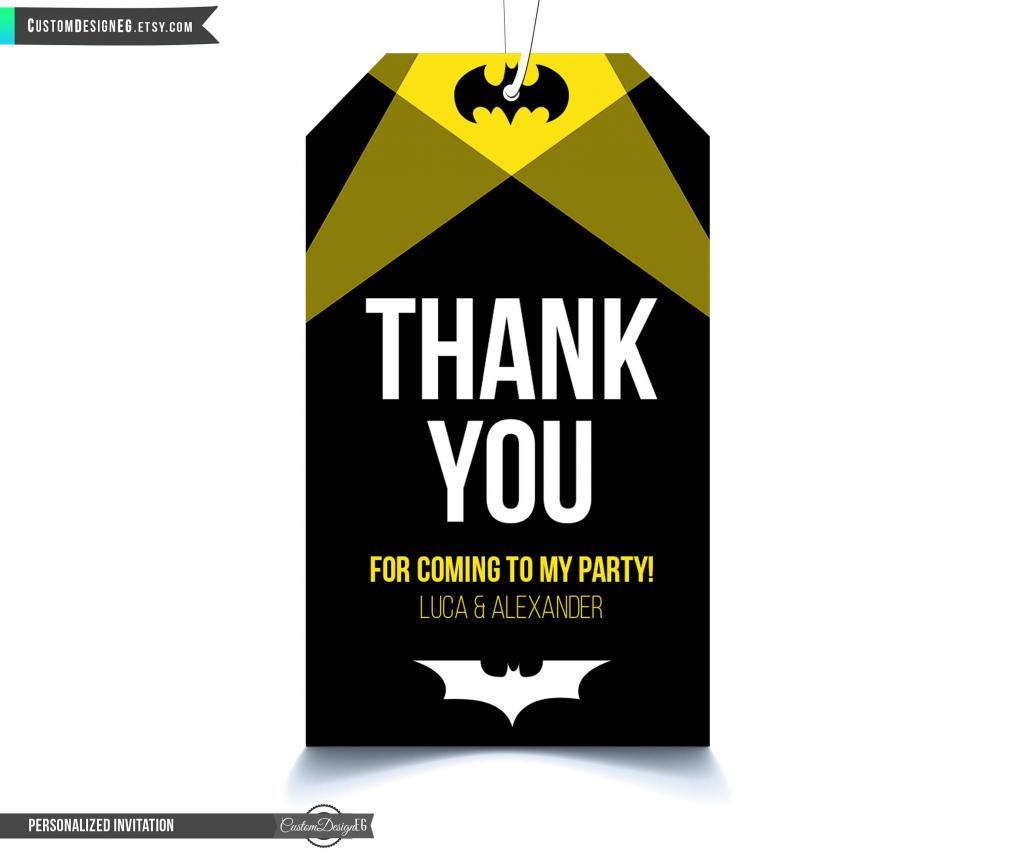 Batman Thank You Tags, Batman Tags, Batman Birthday Party, Batman | Batman Thank You Cards Printable