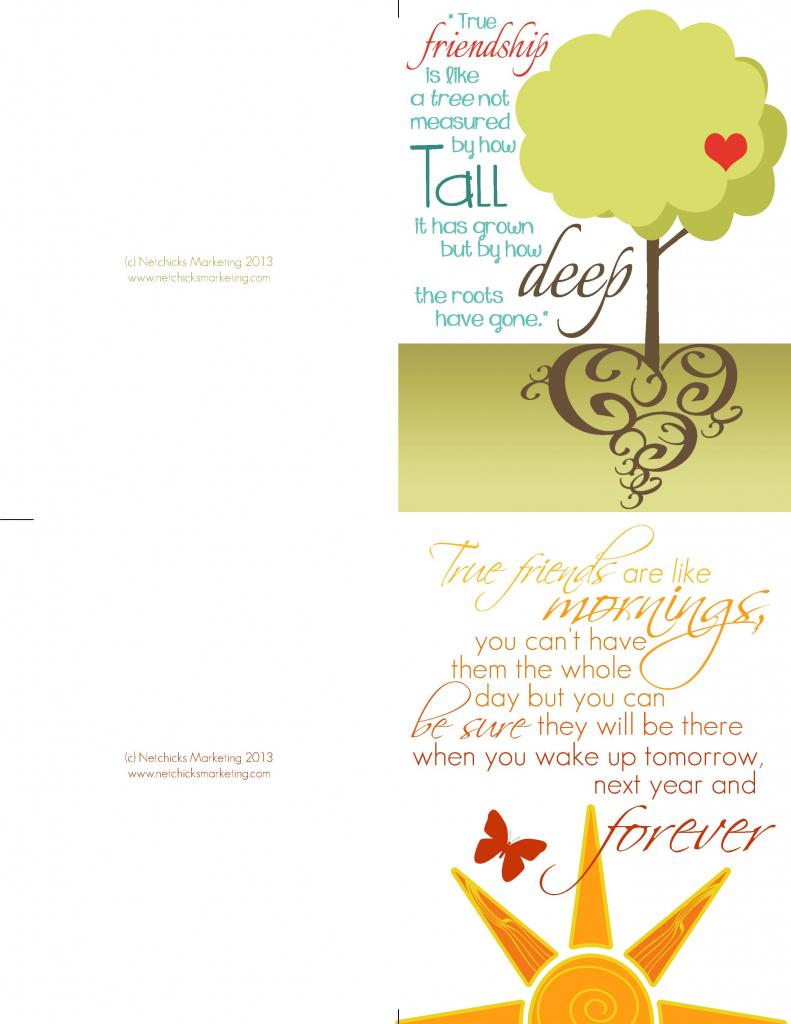 Beautiful Freebie -- Friendship Card Printable | Friends Forever | Printable Friendship Cards Friends