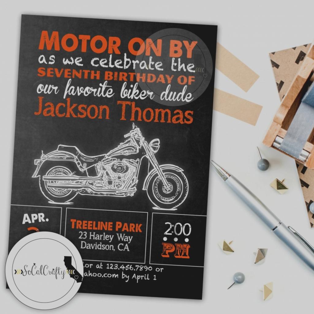 Beautiful Of Harley Davidson Birthday Invitations Baby Shower   Harley Davidson Cards Printable